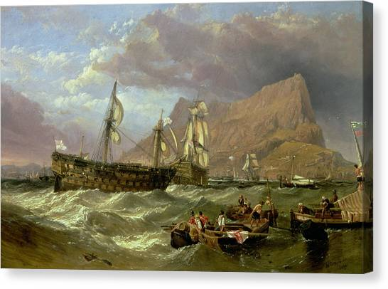 Mountain Cliffs Canvas Print - The Victory Towed Into Gibraltar by Clarkson R A Stanfield