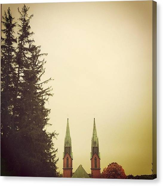 Jerseys Canvas Print - The View #church #towers #trees by Red Jersey