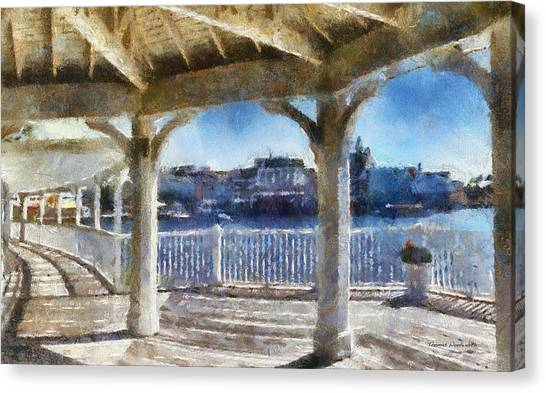 The View From The Boardwalk Gazebo Wdw 02 Photo Art Canvas Print
