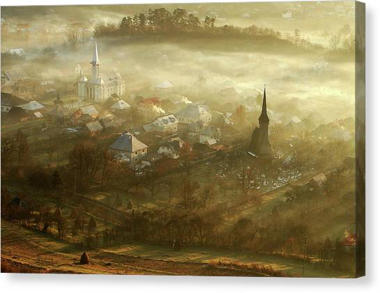 Church Canvas Print - The Village Born From Fog... by