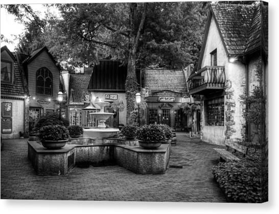 The Village Of Gatlinburg In Black And White Canvas Print