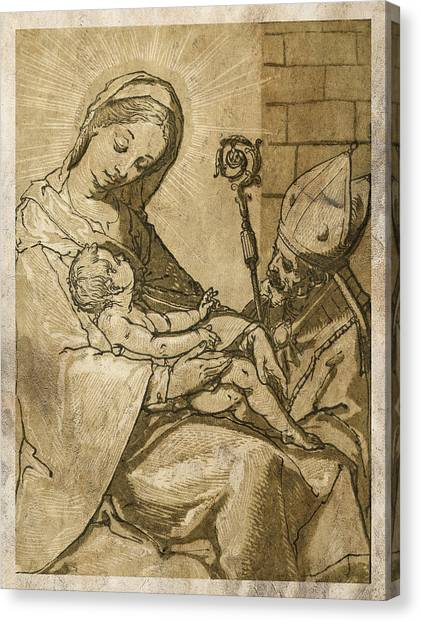 Holy Bible Canvas Print - The Virgin And Child by Aged Pixel