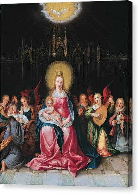Lute Canvas Print - The Virgin And Child Surrounded by Cornelis de I Baellieur