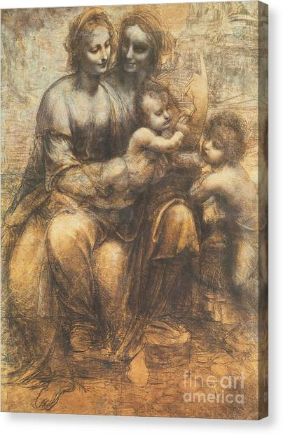 Child Drawing Canvas Print - The Virgin And Child With Saint Anne And The Infant Saint John The Baptist by Leonardo Da Vinci
