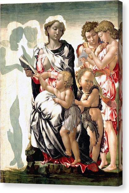 Michelangelo Simoni Canvas Print - The Virgin And Child With Saint John And Angels by Michelangelo Buonarroti