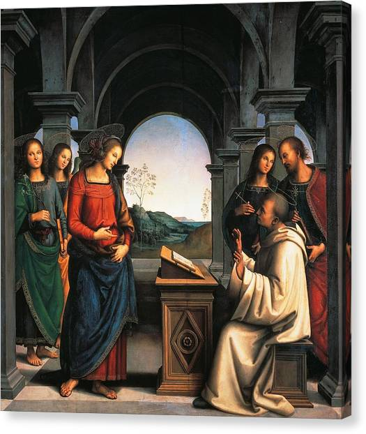 Apparition Canvas Print - The Vision Of St Bernard by Pietro Perugino