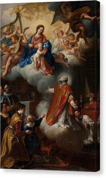 Priests Canvas Print - The Vision Of St. Philip Neri, 1721 by Marco Benefial