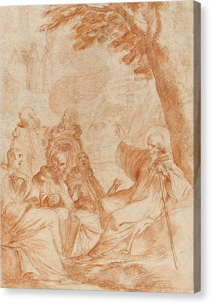 Baroque Canvas Print - The Vision Of St. Romauld by Andrea Sacchi