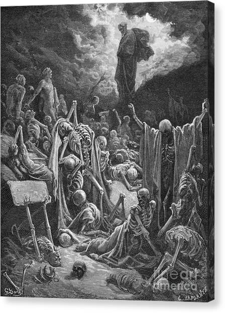 Holy Bible Canvas Print - The Vision Of The Valley Of Dry Bones by Gustave Dore