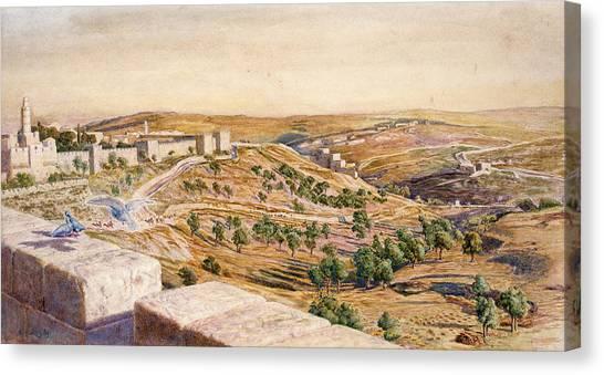 Israeli Canvas Print - The Walls Of Jerusalem, 1869 by William Holman Hunt