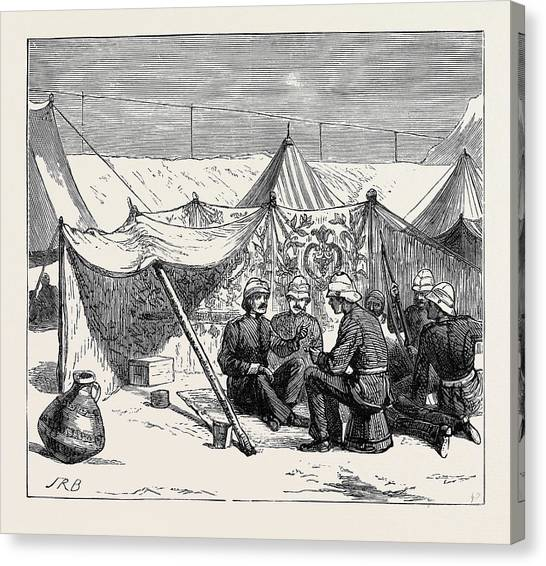Royal Marines Canvas Print - The War In Egypt A Bivouac Of The Royal Marines At Mahsameh by Egyptian School