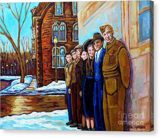 The War Years 1942 Montreal St Mathieu And De Maisonneuve Street Scene Canadian Art Carole Spandau Canvas Print