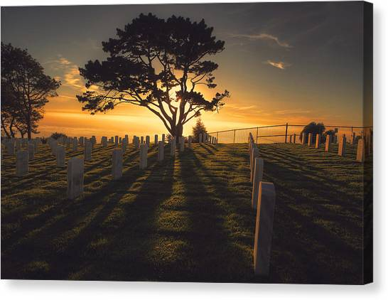 Fort Rosecrans National Cemetery Canvas Print - The Warmth  by Kenny Noddin