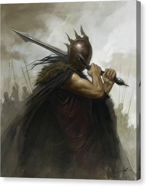 World Of Warcraft Canvas Print - The Warrior by Alan Lathwell