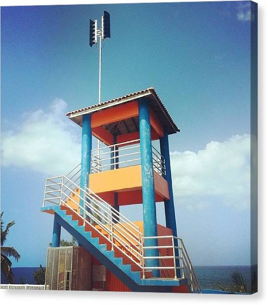 Tsunamis Canvas Print - The Watch #tower With The #tsunami by William Castro