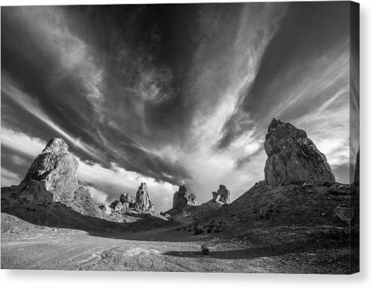 Black Rock Desert Canvas Print - The Watch Towers - Black And White by Peter Tellone