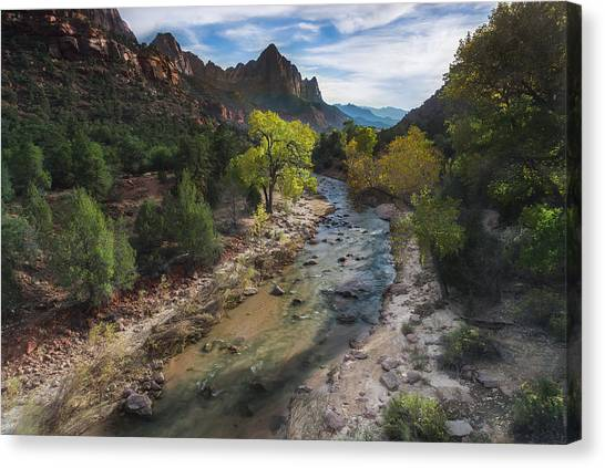 Subway Canvas Print - The Watchman In Zion National Park by Larry Marshall