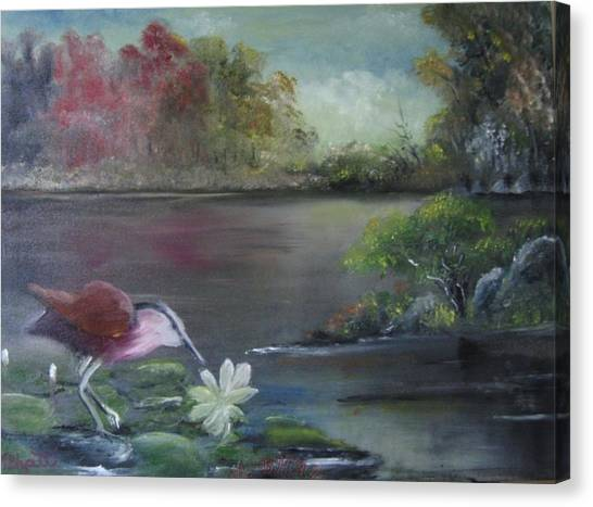 The Water Bird Canvas Print by M Bhatt