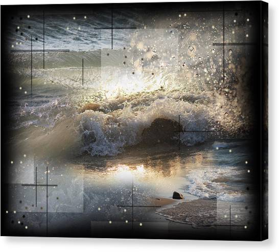 The Waves Of Lake Michigan Canvas Print by Andrew Sliwinski