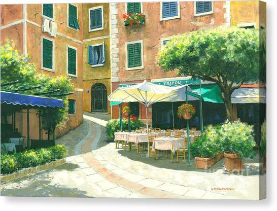Portofino Cafe Canvas Print - The Way Home by Michael Swanson