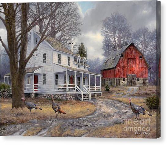 Turkeys Canvas Print - The Way It Used To Be by Chuck Pinson