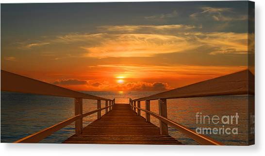Blue Canvas Print - The Way To The Sunset by Monika Juengling
