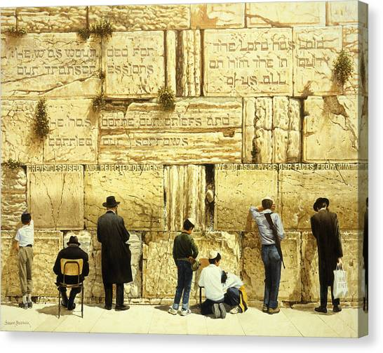Biblical Canvas Print - The Western Wall  Jerusalem by Graham Braddock