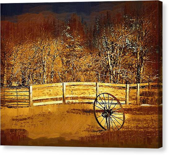 The Wheel And The Fence Canvas Print