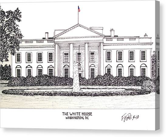 Pen And Ink Drawing Canvas Print - The White House by Frederic Kohli