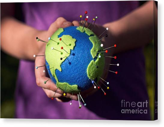 The Whole World In Your Hands Canvas Print by Catherine MacBride