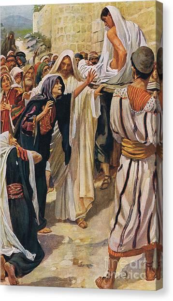 Resurrected Canvas Print - The Widow Of Nain by Harold Copping