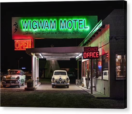 The Wigwam Motel Neon Canvas Print