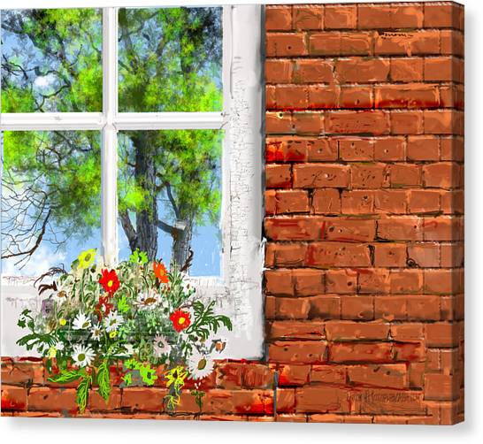The Window Triptych Summer Canvas Print by Jim Hubbard