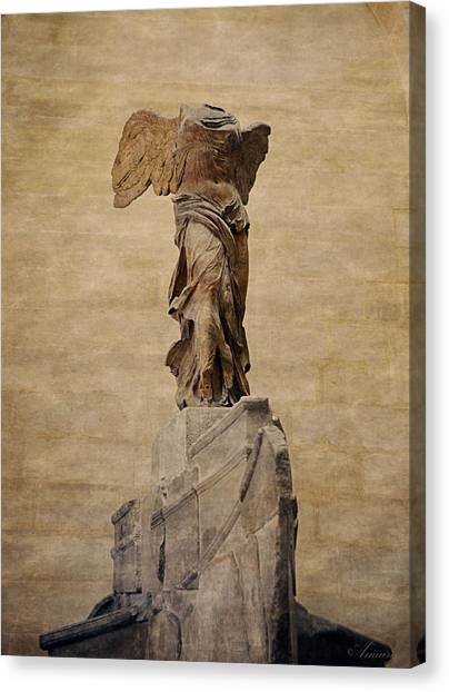 Hellenistic Art Canvas Print - The Winged Victory Of Samothrace by Maria Angelica Maira