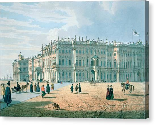 Neoclassical Art Canvas Print - The Winter Palace As Seen From Palace Passage, St. Petersburg, C.1840 Colour Litho by Ferdinand Victor Perrot