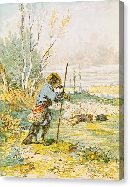 Hat Trick Canvas Print - The Wolf As A Shepherd by Jules David