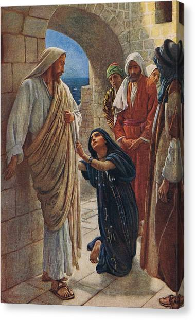 Sick Canvas Print - The Woman Of Canaan by Harold Copping