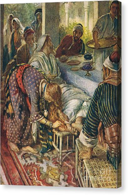 Messiah Canvas Print - The Woman With The Box Of Ointment by Harold Copping