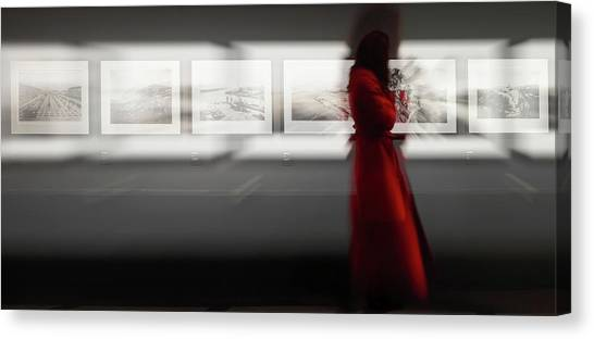 Museums Canvas Print - The Woman With The Red Coat by Bartagnan