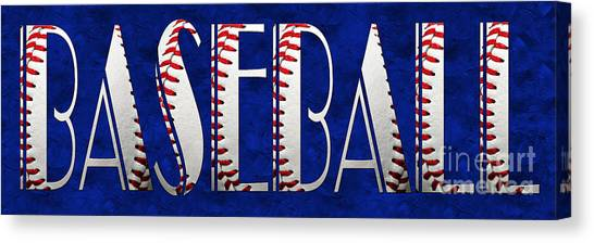 Hardball Canvas Print - The Word Is Baseball On Blue by Andee Design