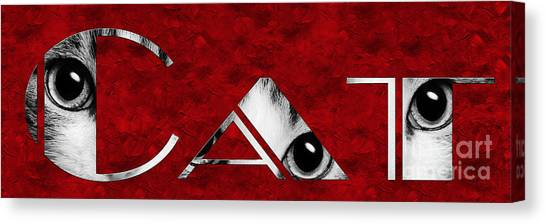 Andee Design Eye Canvas Print - The Word Is Cat Bw On Red by Andee Design