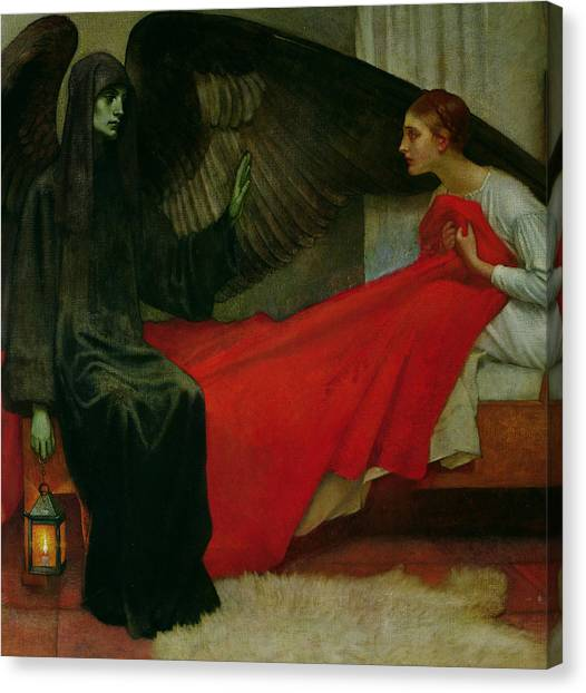 Sick Canvas Print - The Young Girl And Death by Marianne Stokes