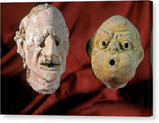 Hellenistic Art Canvas Print - Theatre Masks by Patrick Landmann/science Photo Library