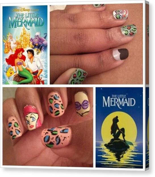Freestyle Canvas Print - #thelittlemermaid #disney #nails by Phylicia Linney