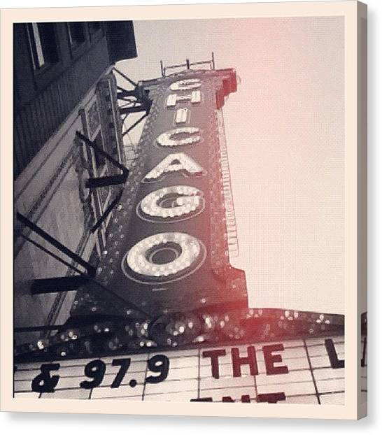 Iphoneonly Canvas Print - #theloop #chicago #chicagotheatre by Mike Maher