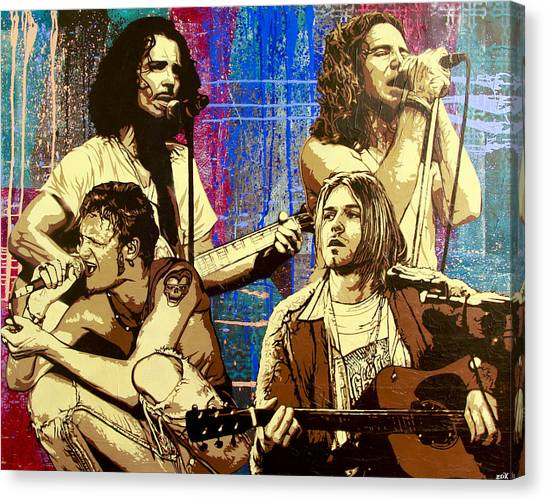 Nirvana Canvas Print - Them Bones Are Louder Than Love In A Corduroy Heart-shaped Box by Bobby Zeik