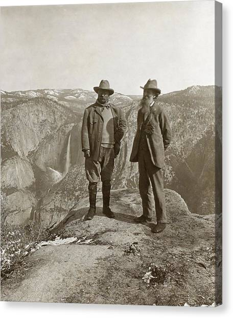 Theodore Roosevelt Canvas Print - Theodore Roosevelt And John Muir by Library Of Congress