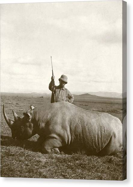 Theodore Roosevelt Canvas Print - Theodore Roosevelt With Rhino by Library Of Congress/science Photo Library