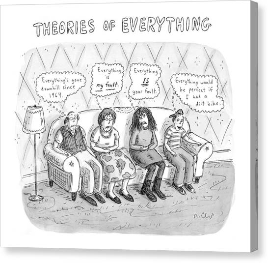 Dirt Bikes Canvas Print - Theories Of Everything: 'everything's Gone by Roz Chast