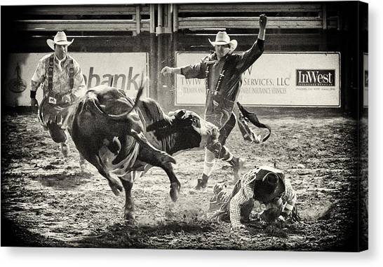 Bull Riding Canvas Print - There Have To Be Clowns by Caitlyn  Grasso